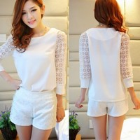 Women's Tulle 3/4 Sleeve Patchwork Top Shirt Blouse Pant Short Suits Two Pieces