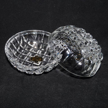 Zajecar Kristal Glass Trinket Dish with Lid, 24% Lead Crystal, Made in Yugoslavia, Ring Dish, Dressing Table Dish, Jewelry Storage, 1970's