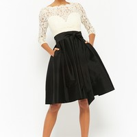 Lace Illusion Contrast Dress