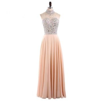 Elegant luxury evening dresses high neck long crystal beaded women pageant evening gown for formal party