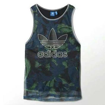 ESBONS Adidas' Women Sports Casual Multicolor Feather Flower Print Sleeveless Vest T-shirt Tops