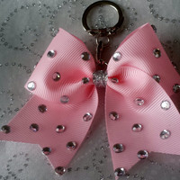 Cheer Bow Key Chain Pink & Rhinestones
