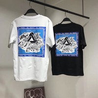 """""""Palace"""" Unisex Casual Personality Snow Mountain Letter Pattern Print Couple Short Sleeve  T-shirt Top Tee"""
