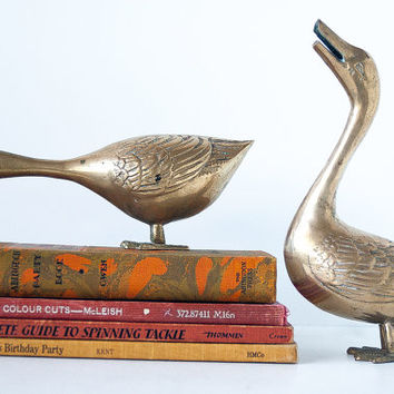 Vintage Brass Ducks Set of 2 Large, Collectible Brass Figurines