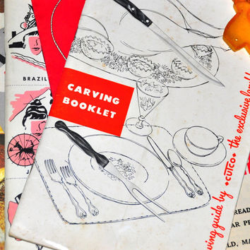 1950's Vintage Carving Booklet - A Carving Guide by CUTCO. The exclusive lamb handle cutlery! Vintage Paper Ephemera.Advertising Cookbook.