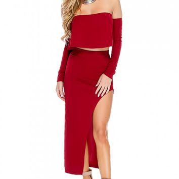 Sexy Wine Sheer Off The Shoulder Long Sleeve Two Piece Party Dress