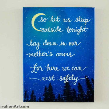 Nature Art Acrylic Painting Canvas Art - Music Lyrics Art Dave Matthews Band - Camping Decor Hiking Art - Wanderlust Art Landscape Paintings