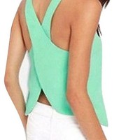 Womens Chiffon Sleeveless Blouse Sexy Summer Shirt Tops Women Tank Top Vest
