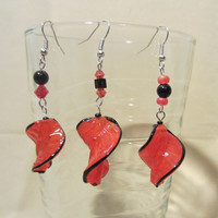 Black Trimmed Red Glass Swirl Feather Bead Dangle Earrings, Handmade, Unique Style, Original Design, Bold, Bright Color, Fashion Jewelry