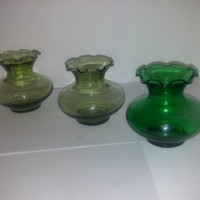 Trio of Small Ruffled Green Glass Vases