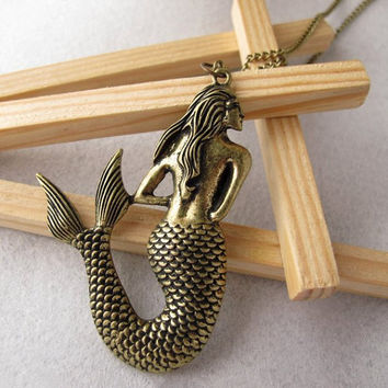 Retro Mermaid Necklace Sea-maid Necklace