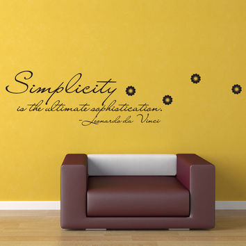 Vinyl Wall Decal Sticker Da Vinci Simplicity Quote #OS_DC509