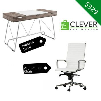 Modern Desk and Leather Chair With Built-In Lumbar Support BUNDLE