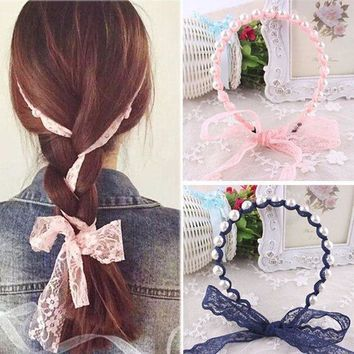 PEAPGC3 2017 Women Headbands Lace Hair Accessories Summer Style Imitated Pearl Scrunchy Hair Bows Elastic Hair Bands Flower Hairbands