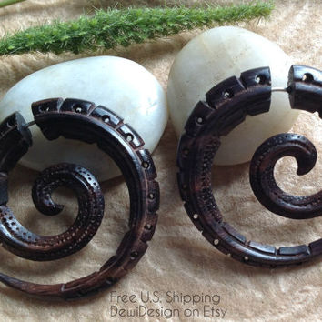 "Fake Gauge Earrings, ""Vertere Spirals"" Sono Wood, Natural, Handcrafted,Tribal"