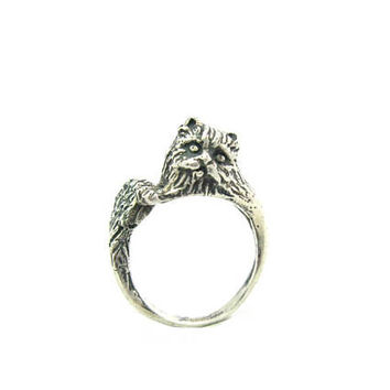 Cat Ring. Sterling Silver Wrap Style. Long Hair Persian Kitty Cat. Adjustable Head & Tail Bypass. Vintage 3D Cast Feline Animal Jewelry