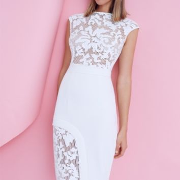 HEIDI LACE DRESS - ivory dress with lace detail and asymmetric hem