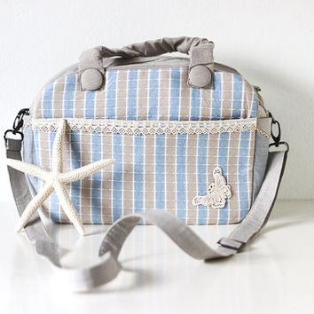 Baby Blue and Light Grey Summer Vacation Bag, Striped Convertible Summer Fashion Diaper, Shoulder or Messenger Bag - Butterfly Fish