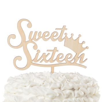 Sweet 16 Crown Wooden Cake Topper