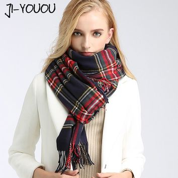 scarves women high 2017 winter plaid blanket scarf ladies scarves twill silk scarf ponchos and capes wool blanket oversized