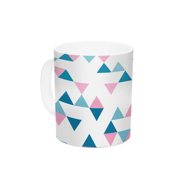 "Project M ""Triangles Pink"" Blush Blue Ceramic Coffee Mug"