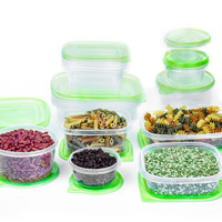 imperial home plastic storage sets with green lids Case of 12