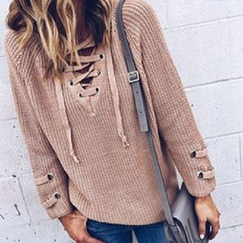 Ladies Tops Sexy Casual Sweater [22394863642]