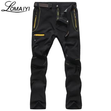 LOMAIYI Elastic Waterproof Male Cargo Pants Men 2017 Spring Summer Black Men's Trousers Fashion Casual Mens Sweatpants,AM119