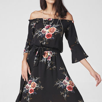 Off Shoulder Trumpet 3/4 Sleeves Irregular Flower Print Short Dress