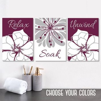 Maroon BATHROOM WALL Art, CANVAS or Prints, Maroon Gray Bathroom Decor, Bathroom Wall Decor, Relax Soak Unwind, Bathroom Quotes, Set of 3