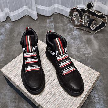 Off-White Hi-Top TRY YOUR BEST Black White Sneakers - Best Deal Online