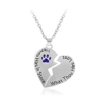 lovely Purple Cat Dog Paw print Broken heart Pendant necklace Pet Lover Accessories Send a friend's gift Fashion personality