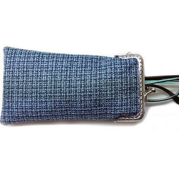 Sunglasses Case - Single glasses case - Blue Upholstery fabric - Kiss Lock Silver Frame