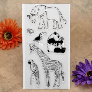Elephant Giraffe Panda Parrot Scrapbook DIY photo cards account rubber stamp clear stamp transparent stamp 10x20cm KW7041303