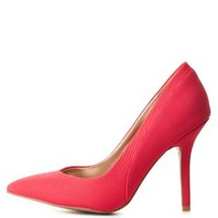 Fuchsia Snake-Textured Pointed Toe Pumps by Charlotte Russe