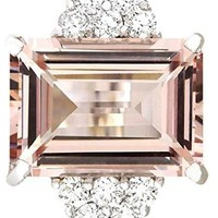 CERTIFIED 7.25 Carat 14K White Gold  Natural Pink Morganite and Diamond Cocktail Ring