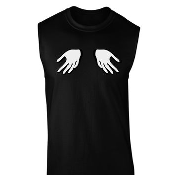 Shrugging Hands Dark Muscle Shirt