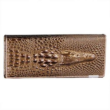 Genuine Leather 3D Embossing Alligator Ladies Crocodile Long Clutch Wallets Women Wallet Female Coin Purses Holders Brand