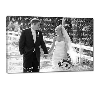 Personalized Personalized Unique Wedding Present Photo and writing typography OOAK canvas 18X24