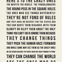 Think Different  // Inspirational Quote // Art Print // Steve Jobs