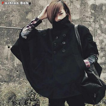 Men's Yuppie Turtleneck Batwing Woolen Cloak Coat Fashion New Windproof Black Poncho Winter Trench Coat
