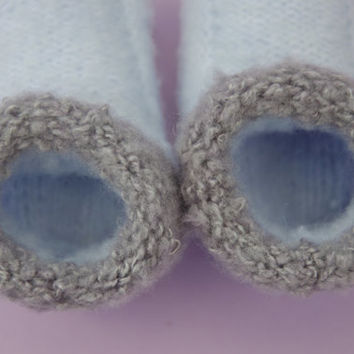 Blue Baby Booties - Hand knitted - Grey Trim Baby Shoes