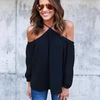 Strap Solid Color Halter Off Shoulder Long Sleeve Loose blouse top