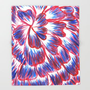 Red, White, and Blue Dahlia Throw Blanket by Lindsay