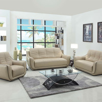 Global-United-2088BEI-2PC 2 pc Tamara collection modern style beige genuine leather upholstered sofa and love seat set
