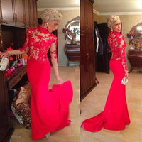 fashion red mermaid Mother of the Bride Dresses 2016 long sleeves high neck appliques lace formal evening gown for wedding party