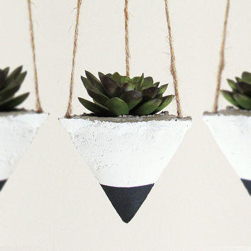 Hanging Air Planter, Succulent Planter, Concrete Planter, Geometric Planter, Modern Planter, Succulent Pot, White Black Planter - Set of 3