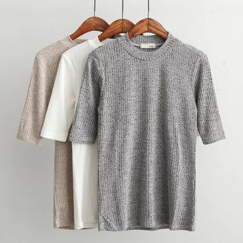 High-Neck Short-Sleeve Knitted Shirt