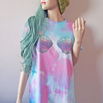 Seashell Mermaid Tie Dye T-Shirt