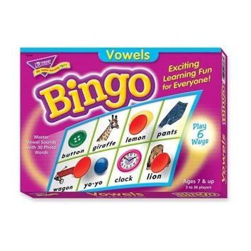 Trend Enterprises Vowels Bingo Game, 3-36 Players, 36 Playing Cards/Mats Case Pack 3